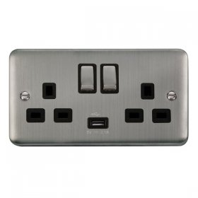 Click Deco Plus 13A Double Switched Socket USB DPSS570BK