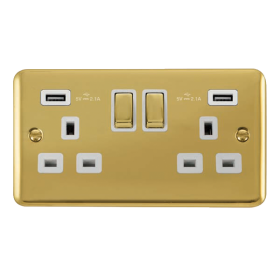 Click Deco Plus Twin USB Double Switched Socket DPBR580WH