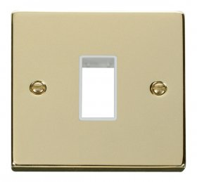 Click Deco Polished Brass Single Plate 1 Gang Aperture VPBR401WH