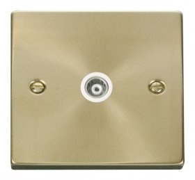 Click Deco Satin Brass Isolated Coaxial Socket VPSB158WH