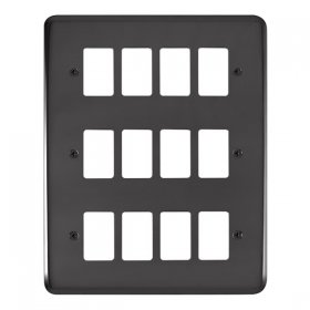 Click Deco Plus B/Nickel 12 Gang Grid Pro Front Plate DPBN20512