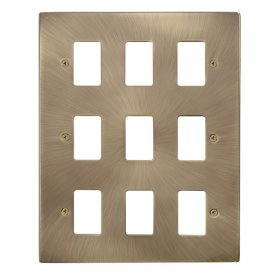 Click Deco Antique Brass 9 Gang Grid Pro Front Plate VPAB20509