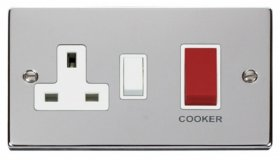Click Deco Polished Chrome 45A DP Switch & Socket VPCH204WH