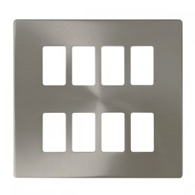 Click Definity B/Steel 8 Gang Grid Pro Front Plate SCP20508BS