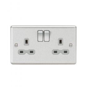 Knightsbridge Brushed Chrome 13A Double Switched Socket CL9BC