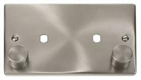 Click Satin Chrome Twin Dimmer Plate 1630W Max VPSC186