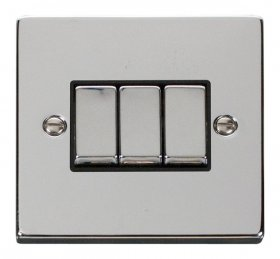 Click Deco Polished Chrome 3 Gang 2 Way Switch VPCH413BK