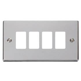 Click Deco Polished Chrome 4 Gang Grid Pro Front Plate VPCH20404