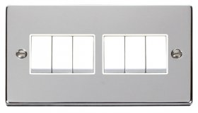 Click Deco Polished Chrome 6 Gang 2 Way Switch VPCH105WH