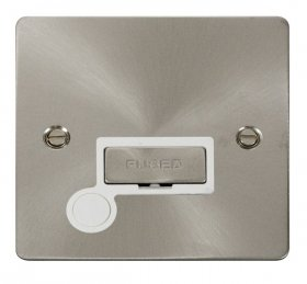 Click Define Brushed Steel Unswitched Fused Spur + F/O FPBS550WH
