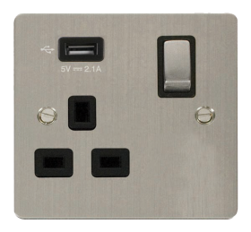 Click Define Stainless Steel USB Switched Socket FPSS571UBK