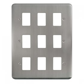 Click Deco Plus S/Steel 9 Gang Grid Pro Front Plate DPSS20509