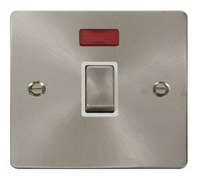 Click Define Brushed Steel 20A Double Pole Switch Neon FPBS723WH
