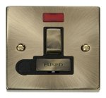 Click Deco Antique Brass Switched Fuse Spur Neon + F/O VPAB552BK