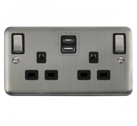 Click Deco Plus S/Steel Type A & C USB Double Socket DPSS586BK
