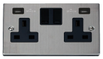 Click Deco Stainless Steel Twin USB Double Socket VPSS780BK