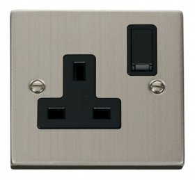 Click Deco Stainless Steel 13A Single Switched Socket VPSS035BK