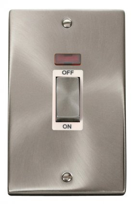 Click Deco Satin Chrome 2 Gang 45A Vertical DP Sw Neon VPSC503WH