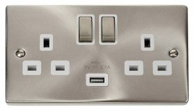 Click Deco Satin Chrome USB Double Switched Socket VPSC570WH