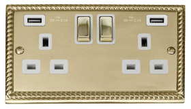 Click Deco Georgian Brass Twin USB Double Socket GCBR580WH