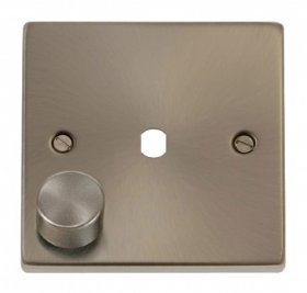 Click Satin Chrome 1G Empty Dimmer Plate with Knob VPSC140PL