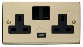 Click Deco Polished Brass USB Double Switched Socket VPBR770BK