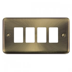 Click Deco Plus Ant/Brass 4 Gang Grid Pro Front Plate DPAB20404