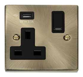 Click Deco Antique Brass USB Single Switched Socket VPAB771UBK