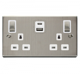Click Deco S/Steel Type A & C USB Double Socket VPSS786WH