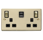 Click Deco Polished Brass Type A & C USB Double Socket VPBR586BK
