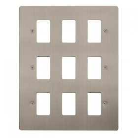 Click Define S/Steel 9 Gang Grid Pro Front Plate FPSS20509