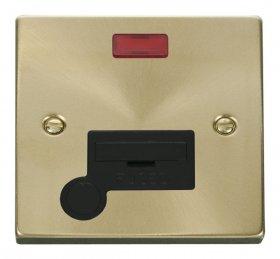 Click Deco Satin Brass Unswitched Fused Spur Neon F/O VPSB053BK