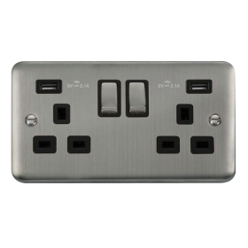 Click Deco Plus Twin USB Double Switched Socket DPSS580BK