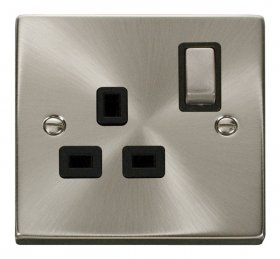 Click Deco Satin Chrome 13A Single Switched Socket VPSC535BK