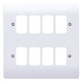 MK Grid Plus White Double Plate 8 Module Front Plate K3638WHI