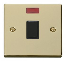 Click Deco Polished Brass 20A Double Pole Switch Neon VPBR623BK