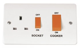 Click Mode 45A Cooker Switch + 13A Switched Socket CMA204