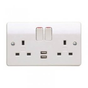 MK Logic Plus K2744WHI 13A 2 Gang DP Switched Socket with USB