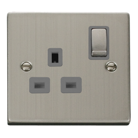 Click Deco Stainless Steel 13A Single Switched Socket VPSS535GY