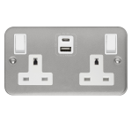 Click Metal Clad Type A & C USB Double Switched Socket CL786
