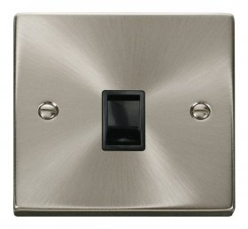 Click Deco Satin Chrome Single RJ11 Socket Ireland/USA VPSC115BK