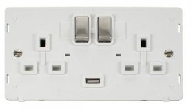 Click Definity 2 Gang USB Switched Socket Insert SIN570PWSS