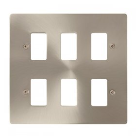 Click Define Brushed Steel 6 Gang Grid Pro Front Plate FPBS20506