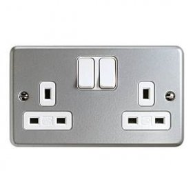 MK Metal Clad Plus K2946ALM 13A 2 Gang DP Switched Socket