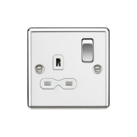 Knightsbridge Polished Chrome 13A Single Switched Socket CL7PCW