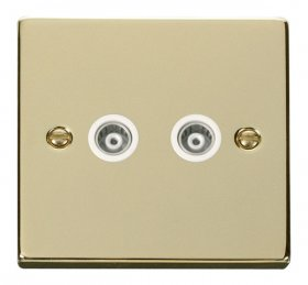 Click Deco Polished Brass Twin Isolated Coaxial Socket VPBR159WH