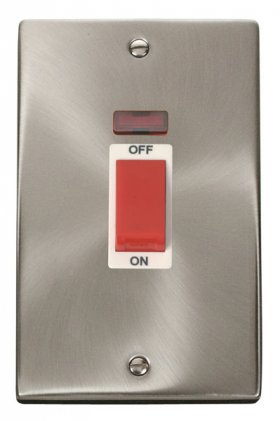 Click Deco Satin Chrome 2 Gang 45A Vertical DP Sw Neon VPSC203WH