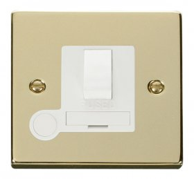Click Deco Polished Brass Switched Fused Spur + F/O VPBR051WH