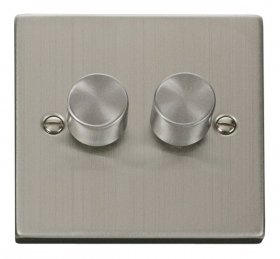 Click Deco Stainless Steel 2 Gang 2 Way Dimmer Switch VPSS152