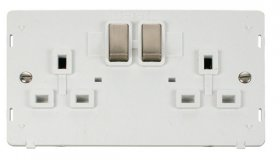 Click Definity 2 Gang Switched Socket Outlet Insert SIN536PWBS